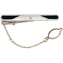 Заколка/галстука черный лак посеребрение циркон Gran Carro Cravatta Clip \ GC7303222