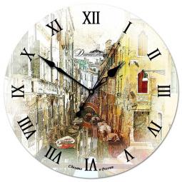 Настенные часы из дерева Династия  Улица в Венеции \ 02-003