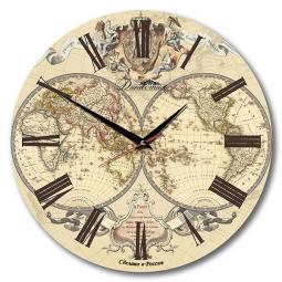 Настенные часы из дерева Династия  Карта мира \ 02-005