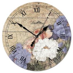 Настенные часы из дерева Династия  Цветы-1 \ 02-009
