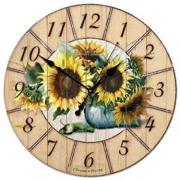 Настенные часы из дерева Династия  Подсолнухи \ 02-012