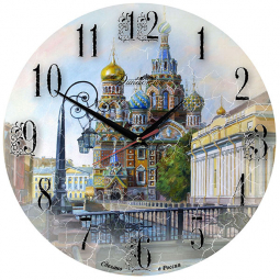 Настенные часы из дерева Династия  Спас на крови \ 02-015