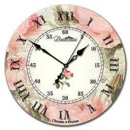 Настенные часы из дерева Династия  Роза ретро \ 02-018