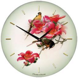 Настенные часы из стекла Династия  Птички  \ 01-012