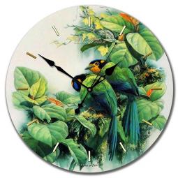 Настенные часы из стекла Династия  Птички зеленые \ 01-013