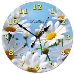 Настенные часы из стекла Династия  Ромашки \ 01-022