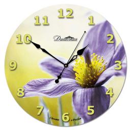 Настенные часы из стекла Династия  Фиолетовый цветок \ 01-023