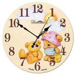 Настенные часы из стекла Династия  Медвежата \ 01-024
