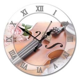 Настенные часы из стекла Династия  Скрипка \ 01-027