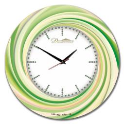 Настенные часы из стекла Династия  Зеленый калейдоскоп \ 01-038
