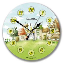 Настенные часы из стекла Династия  Городок \ 01-041