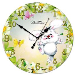Настенные часы из стекла Династия  Зайка \ 01-042