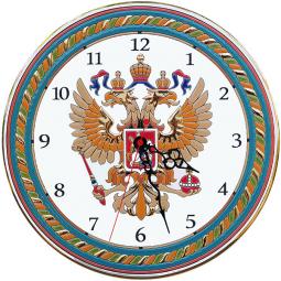 Декоративные настенные часы с Гербом России 40 см РусАрт \ Ч-4025