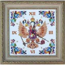 Декоративные настенные часы квадратные с Гербом России 58*58 см РусАрт \ Ч-5015