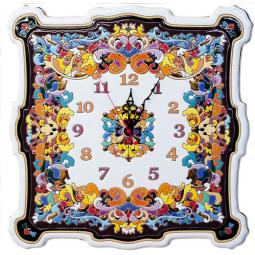 Большие настенные часы ручной работы квадратные 40*40 см РусАрт \ Ч-8003