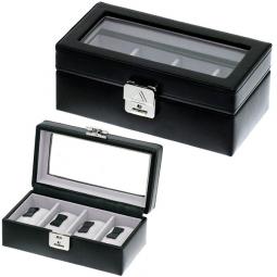 Шкатулка  с прозрачной крышкой для хранения 4 часов  Davidts Chrome \ 378804-01