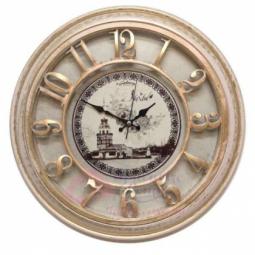 Настенные кварцевые розово-бежевые с золотой патиной круглые часы GALAXY \ 1965-P