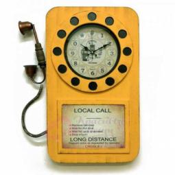 Настенные часы Телефон желтые GALAXY \ DA-006 Yellow