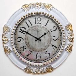 Настенные кварцевые белые с золотой патиной круглые часы GALAXY \ 729 B