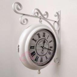 Настенные кварцевые белые двусторонние часы металлические GALAXY \ AYP-820 White