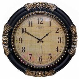 Настенные кварцевые черные с золотой патиной круглые часы GALAXY \ 729 A