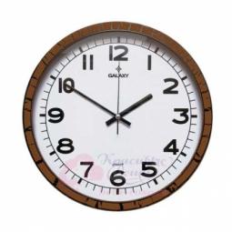 Настенные  кварцевые коричневые круглые часы GALAXY \ 216 X