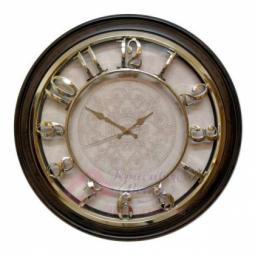 Настенные кварцевые коричневые с золотом круглые часы GALAXY \ M-1965-F