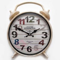 Настенные кварцевые белые с золотой патиной круглые часы-будильник GALAXY \ D-300-8