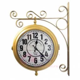 Настенные кварцевые золотистые двусторонние часы металлические GALAXY \ AYP-820 Gold
