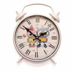 Настенные кварцевые белые круглые часы в виде будильника GALAXY \ D-300-4