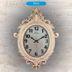 Настенные кварцевые бежево-розовые овальные часы GALAXY \ 731 C