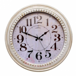Настенные кварцевые белые с золотой патиной круглые часы GALAXY \ 1974 BG