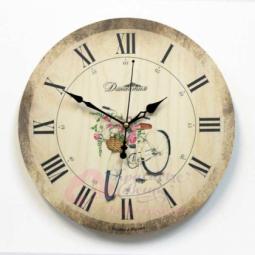 Настенные кварцевые круглые часы Велосипед Династия \ 02-022