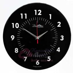 Настенные кварцевые черные круглые часы из стекла Династия \ 01-077