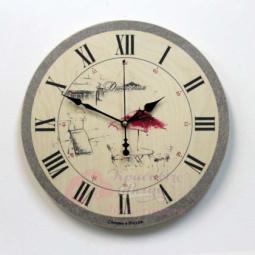Настенные кварцевые бежевые круглые часы Красный зонтик Династия \ 02-027