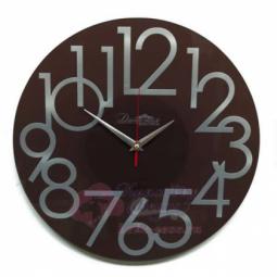 Настенные кварцевые коричневые круглые часы из стекла \ Династия 01-081
