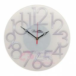Настенные кварцевые бежевые круглые часы из стекла Династия \ 01-085