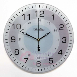 Настенные кварцевые серебристые круглые часы из стекла Династия \ 01-086