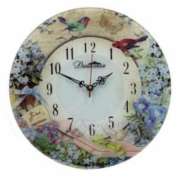 Настенные кварцевые круглые часы из стекла Незабудки-2 Династия \ 01-052