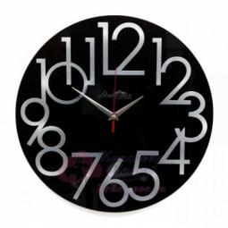 Настенные кварцевые черные круглые часы из стекла Династия \ 01-084