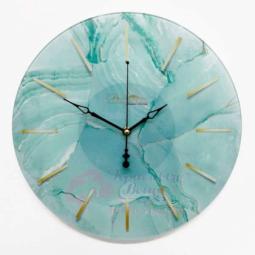 Настенные кварцевые зеленые круглые часы из стекла Династия \ 01-087