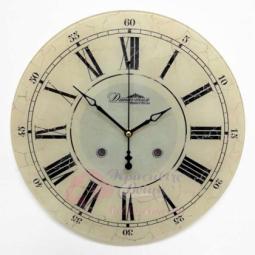 Настенные кварцевые светло-коричневые круглые часы из стекла Династия \ 01-089
