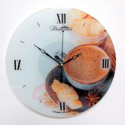 Настенные кварцевые круглые часы из стекла Кофе с корицей Династия \ 01-076