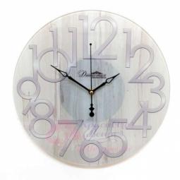 Настенные кварцевые бежевые круглые часы из стекла Династия \ 01-082