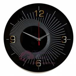 Настенные кварцевые черные круглые часы из стекла Династия \ 01-079