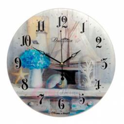 Настенные кварцевые круглые часы из стекла Морской прованс Династия \ 01-074