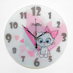Настенные кварцевые круглые часы из стекла Белый котенок Династия \ 01-073