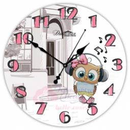 Настенные кварцевые круглые часы из стекла Совенок Династия \ 01-072